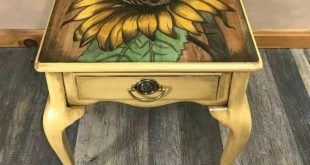 SOLD do not PURCHASE - portfolio pic! Hand Stained Sunflower Art Table, End Table
