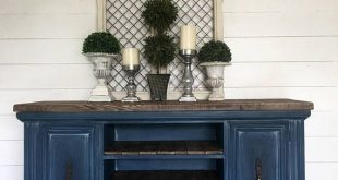 Sold Dark blue painted tv console navy coffee bar blue